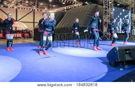 St. Petersburg Russia - 15 April, A teenager dancing hip hop,15 April, 2017. International Motor Show IMIS-2017 in Expoforurum. Dance show group of teenagers in the style of hip-hop.