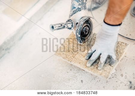 Paving Stone Worker Sawing, Working With Power Tools In Construction Site..