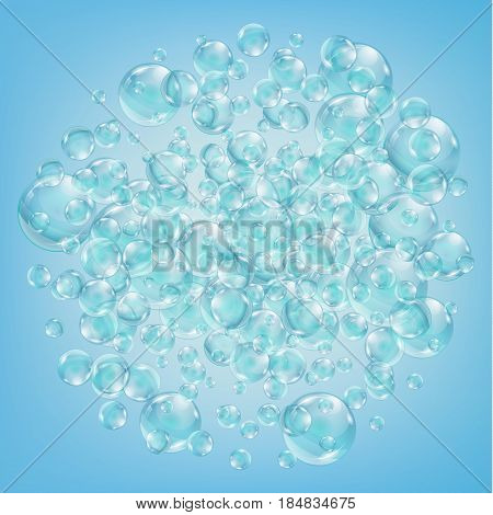 Abstract background with bubbles of the water. Bubbles with reflex and reflection, realistic vector effect. The flow of air bubbles in the water.
