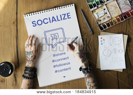 Social Socialize Speech Bubble with Quotation Mark