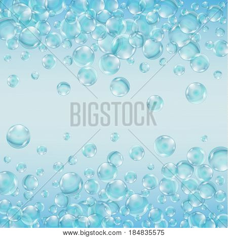 Abstract background with bubbles of the water. Underwater effervescent sparkling oxygen bubbles in water. Iridescent soap bubbles with reflex and reflection, realistic vector 10 eps.