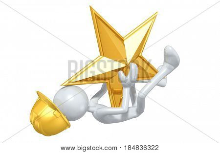 Construction Worker Hit By A Star The Original 3D Character Illustration