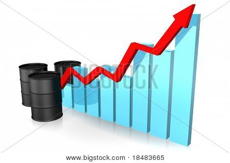 Illustration of three black oil barrels and a red arrow along the incline of a blue bar graph