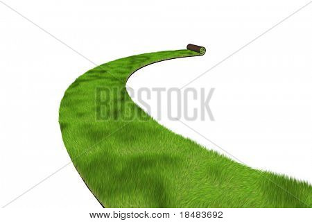 Path of green 3d sod being rolled out with a curve on a white background