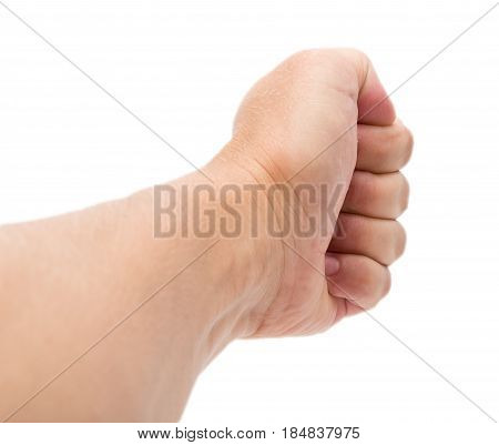 hand on a white background . A photo