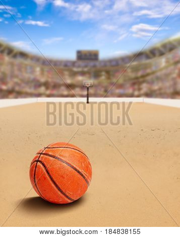 3D rendering of outdoor beach basketball arena full of fans in the stands with ball on sand. The game is a modified version of basketball played on beaches. Deliberate focus on ball and shallow depth of field on background and copy space.
