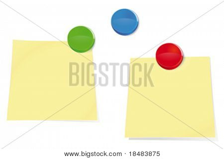Illustration of two blank sticky notes and colorful push pins on a bulletin board