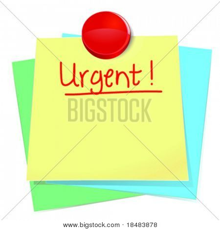 Illustration of an urgent sticky note message tacked on top of other notes