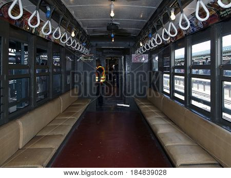 BRONX NEW YORK USA - APRIL 10: Interior of a vintage Low Voltage train from the early 1900's stops at Yankee Stadium for opening day game. Taken April 10 2017 in New York.