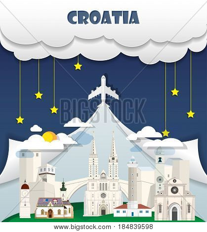 Croatia Travel Background Landmark Global Travel And Journey Infographic Vector Design Template. Ill
