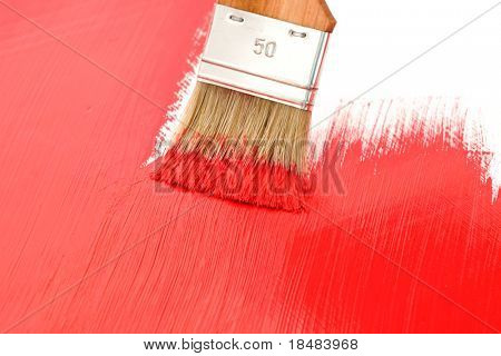 Brush of red painting painting a white background