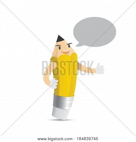 Pencil Character Cartoon Design And Speech Bubble Text Box For Message Illustration Vector. Educatio
