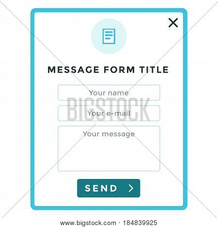 Web feedback or contact form in flat minimalistic design style.
