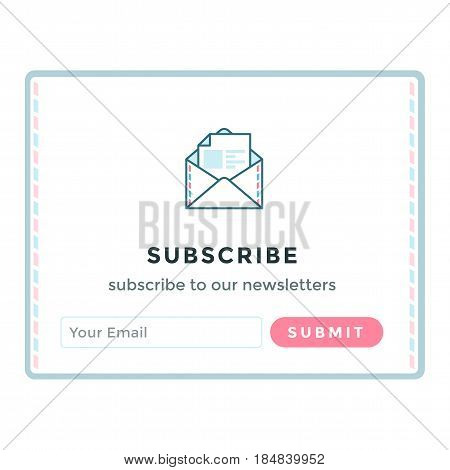 Vector illustration template email subscribe. Submit form for website email letter banner with email icon.