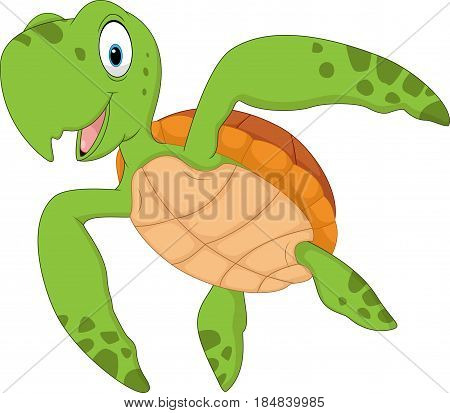 Vector illustration of Cartoon turtle isolated on white background