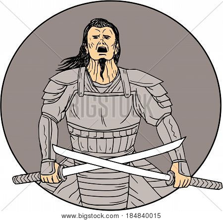 Drawing sketch style illustration of an angry Samurai warrior looking up holding swords in a cross position viewed from front set inside oval on isolated background.