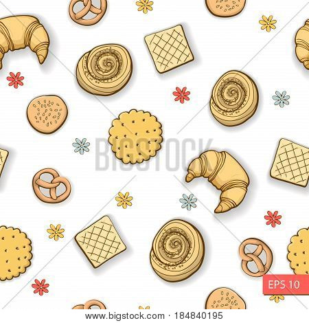 Bakery produkts seamless pattern on white background