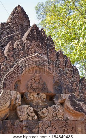 Carving details in Banteay Srei Temple Cambodia.