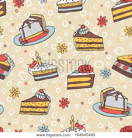 color had-drawn  piece of cake seamless pattern