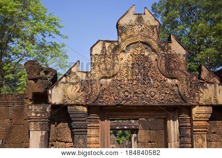 Pediment detail in Banteay Srei Temple in Cambodia.