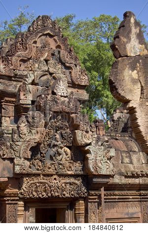Detail of Banteay Srei Temple in Cambodia.