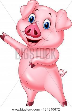Vector illustration of Cartoon pig pointing isolated on white background