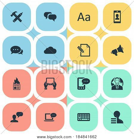 Vector Illustration Set Of Simple Blogging Icons. Elements Notepad, Gazette, Document And Other Synonyms Profit, International And Speech.