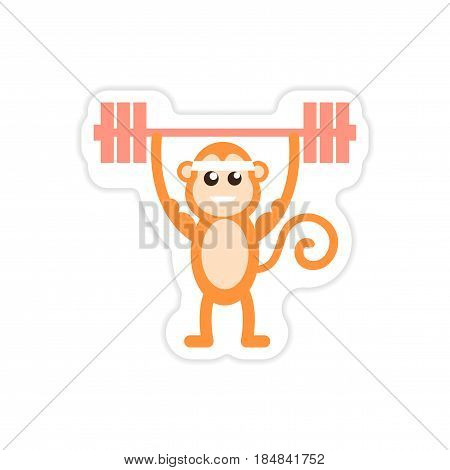 stylish paper sticker on white background monkey weightlifter