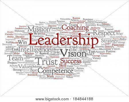 Conceptual business leadership strategy, management value abstract word cloud isolated background. Collage of success, achievement, responsibility, authority, intelligence or competence text