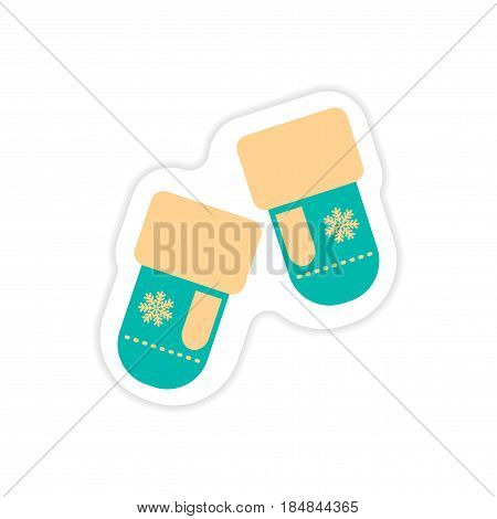 paper sticker on white background mittens snowflakes