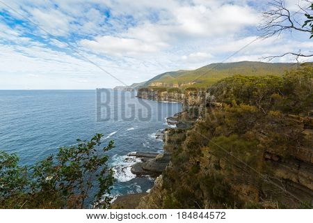 Lookout view of Pirates Bay at Tasman National Park, South east coast of Tasmania, Australia