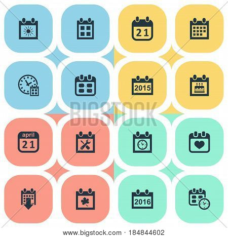 Vector Illustration Set Of Simple Date Icons. Elements Reminder, History, 2016 Calendar And Other Synonyms Calendar, History And Birthday.