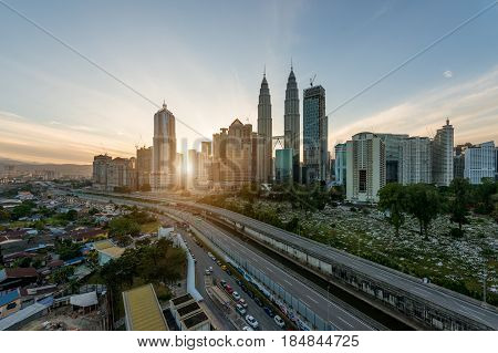 Kuala Lumpur skyline and skyscraper at morning in Kuala Lumpur Malaysia.
