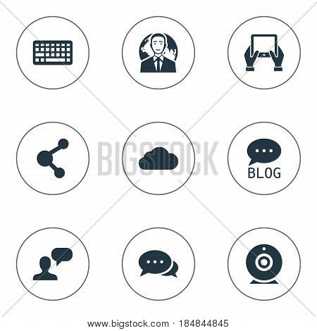 Vector Illustration Set Of Simple Blogging Icons. Elements Overcast, Share, Site And Other Synonyms Camera, Tablet And Site.