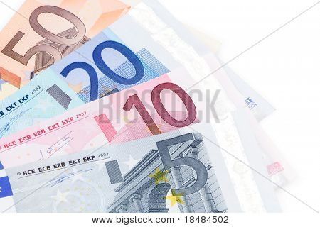 Euro bills on white background