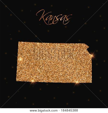 Kansas State Map Filled With Golden Glitter. Luxurious Design Element, Vector Illustration.