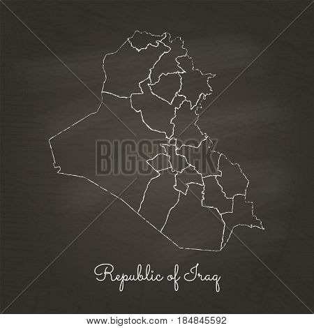 Republic Of Iraq Region Map: Hand Drawn With White Chalk On School Blackboard Texture. Detailed Map