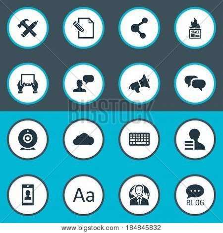 Vector Illustration Set Of Simple Newspaper Icons. Elements Man Considering, Gain, Site And Other Synonyms Broadcast, Globe And Typography.
