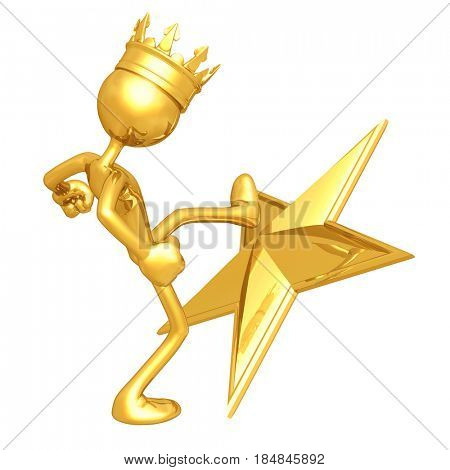 King Kicking A Star The Original 3D Character Illustration