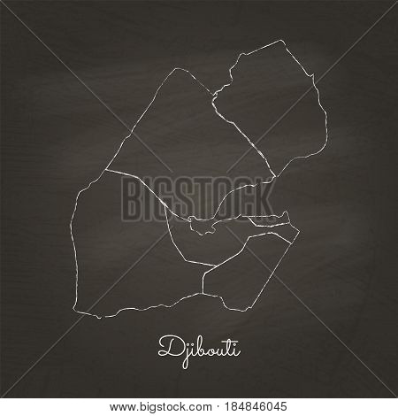 Djibouti Region Map: Hand Drawn With White Chalk On School Blackboard Texture. Detailed Map Of Djibo