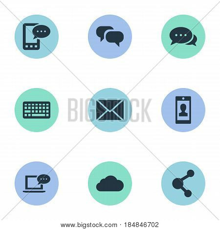 Vector Illustration Set Of Simple Newspaper Icons. Elements Laptop, Profile, Gossip And Other Synonyms Coming, Relation And Keypad.