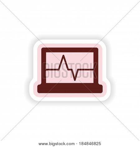 paper sticker on white background ECG machine