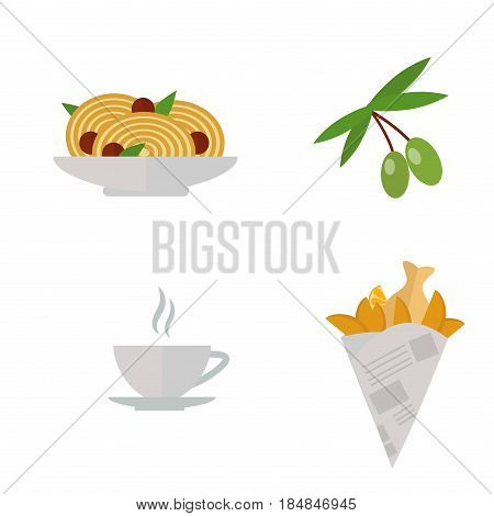 European tasty food olive branch and cuisine dinner food showing delicious elements flat vector illustration. Rustic traditional snack cooking plate. Tasty lunch meat and other fresh dish