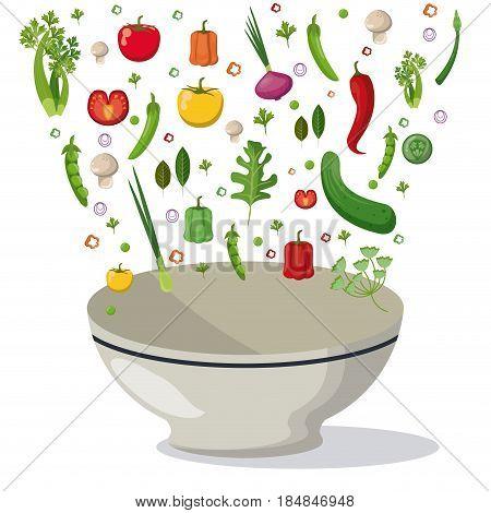 vegetables falling bowl mix food image vector illustration