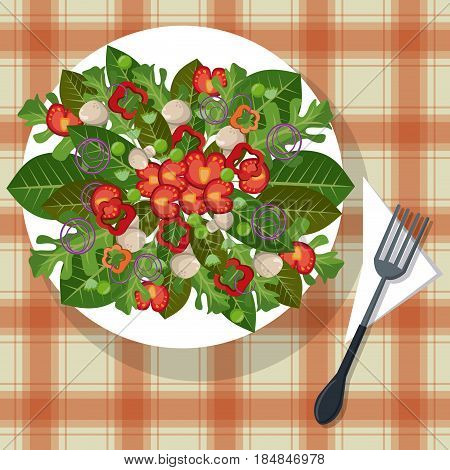 vegetables dish tablecloth with fork vector illustration