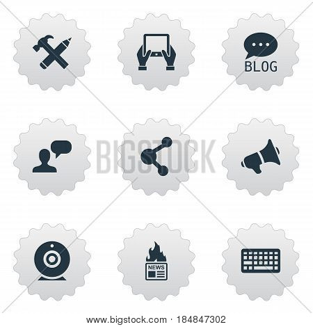 Vector Illustration Set Of Simple Blogging Icons. Elements Site, Notepad, Repair And Other Synonyms Debate, Pencil And Site.