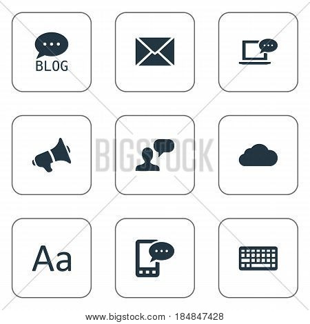 Vector Illustration Set Of Simple User Icons. Elements E-Letter, Loudspeaker, Post And Other Synonyms Keypad, E-Letter And Cloud.