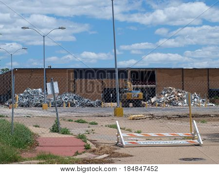 Dallas,USA,04 May 2017. A 93-acre manufacturing facility is being gutted before being demolished. The material outside is scrap metal from heating and air conditioning duct work, wire, vents, hoods, and miscellaneous objects.