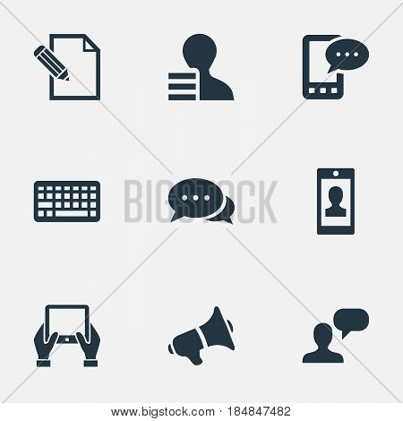 Vector Illustration Set Of Simple Blogging Icons. Elements Man Considering, E-Letter, Argument And Other Synonyms Smartphone, Man And Discussion.