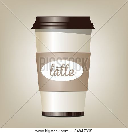latte coffee. cup. street. cafe vector illustration